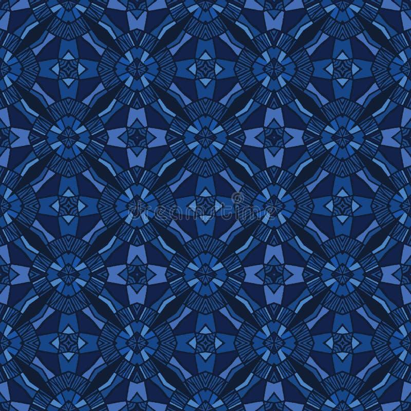 Formes de tuile de mosaïque de bleu d'indigo Fond sans couture de mod?le de vecteur Illustration graphique de grille géométrique  illustration libre de droits