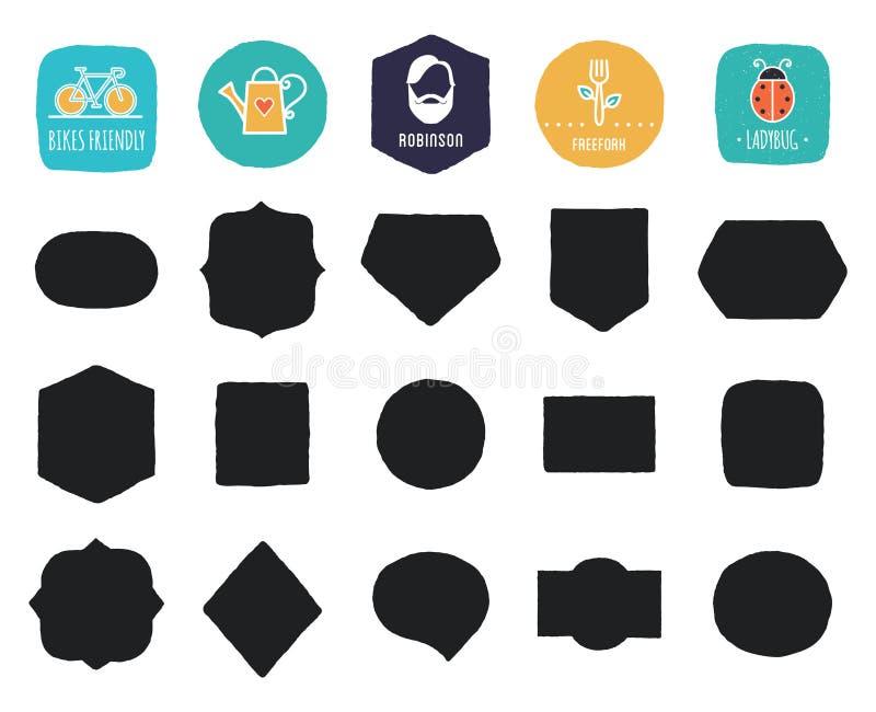 Formes et cadres tirés par la main de vintage avec les bords approximatifs illustration stock