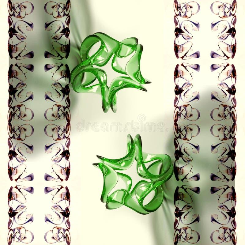Formes générées par ordinateur artistiques de fractales du résumé 3d réfléchissant sur le fond numérique de fractales illustration stock