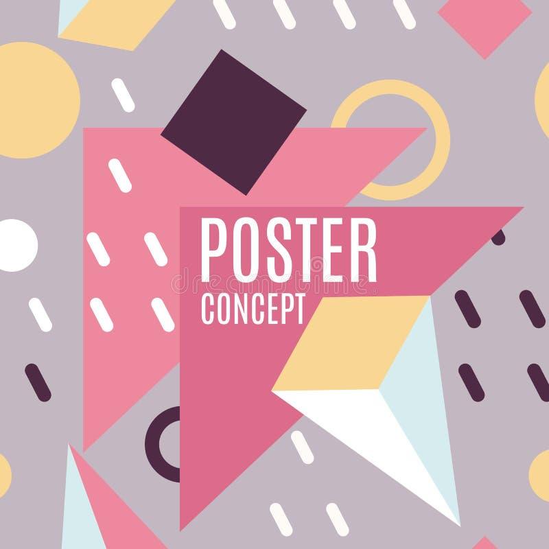Formes géométriques abstraites, lignes colorées vecteur de fond Brochure moderne d'affaires, bannière, page, tract, insecte illustration de vecteur