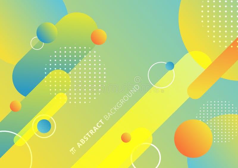 Formes géométriques arrondies et colorées abstraites lignes en rythme diagonal avec éléments en cercle composition dynamique fond illustration libre de droits