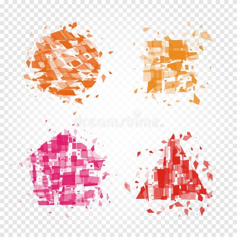formes géométriques colorées abstraites d'ensemble cassé de logo de morceaux, de place, de triangle, de pentagone et de logotype  illustration de vecteur