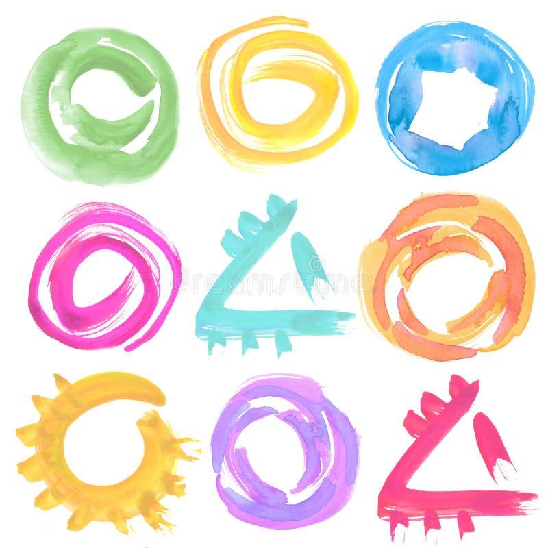 Formes géométriques d'aquarelle dans le style abstrait illustration libre de droits