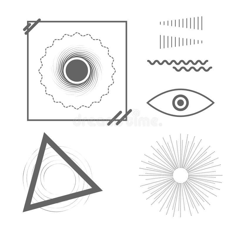 Formes géométriques de tendance universelle Ensemble d'éléments de conception de vecteur pour vous conception illustration libre de droits