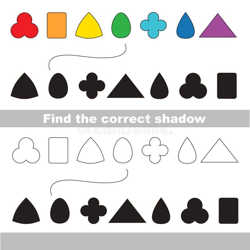 Formes géométriques réglées Trouvez l'ombre correcte illustration libre de droits