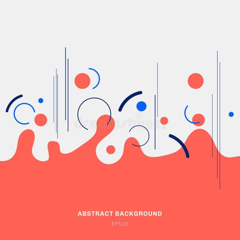 Formes géométriques rouges de cercles d'éclaboussure de composition en résumé et lignes bleues sur le style à la mode de fond bla illustration stock
