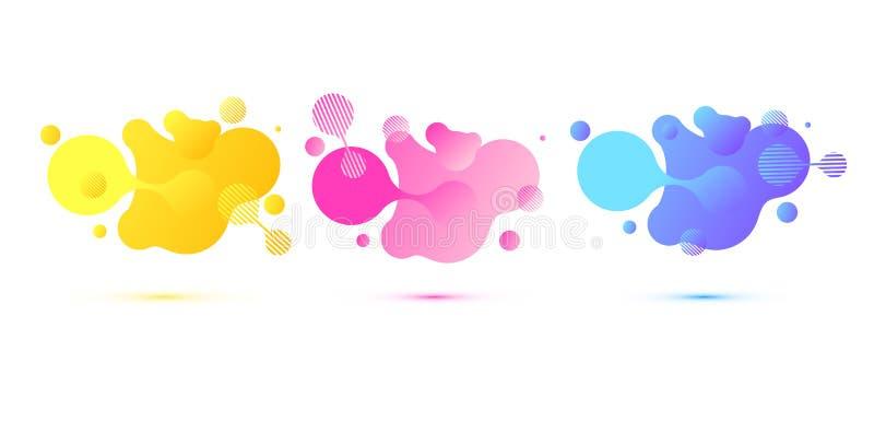 Formes g?om?triques abstraites Banni?res de gradient hydraulique d'isolement sur le fond blanc Fond liquide de vecteur gradient illustration libre de droits