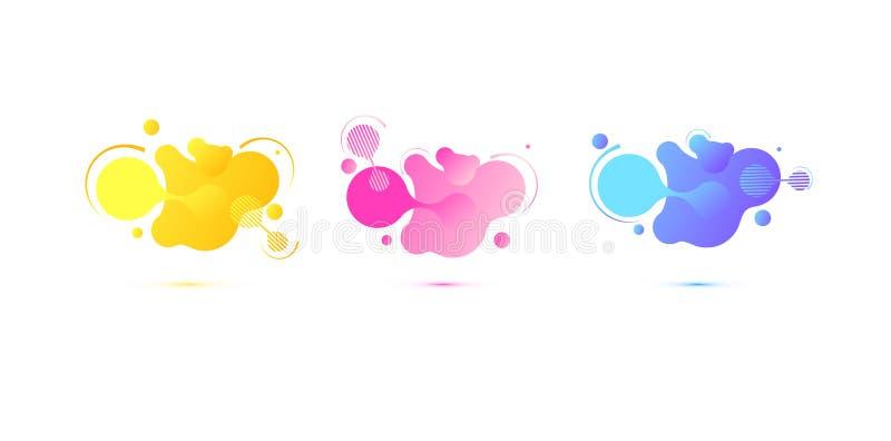 Formes g?om?triques abstraites Banni?res de gradient hydraulique d'isolement sur le fond blanc Fond liquide de vecteur gradient illustration stock