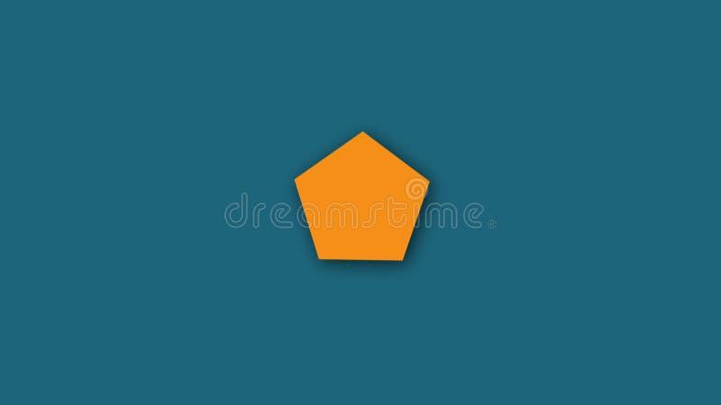 Formes g?om?triques plates - les pentagones color?s avec des ombres dans l'espace, 3d rendent, fond g?n?r? par ordinateur illustration de vecteur
