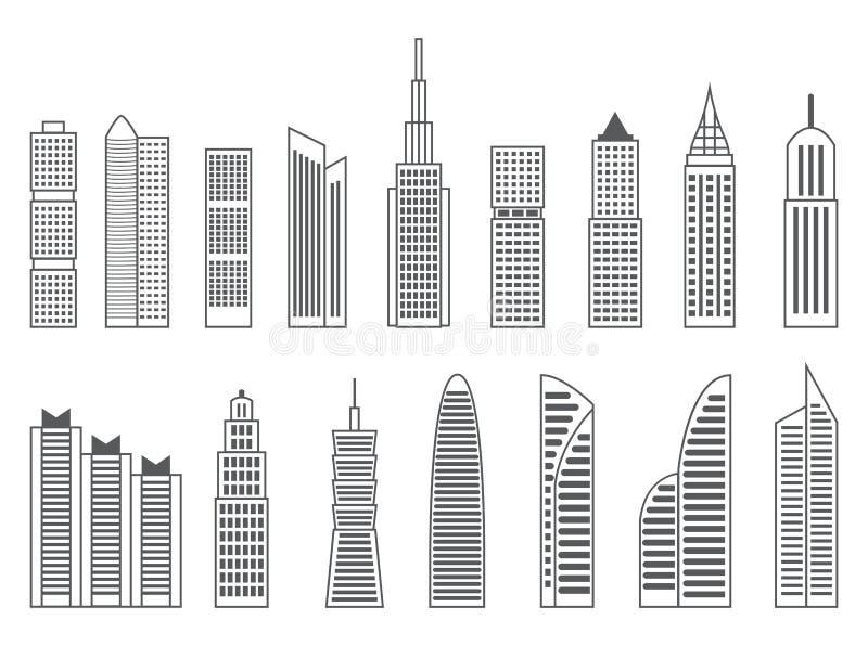 Formes grises ou noires des gratte-ciel sur le fond blanc image stock