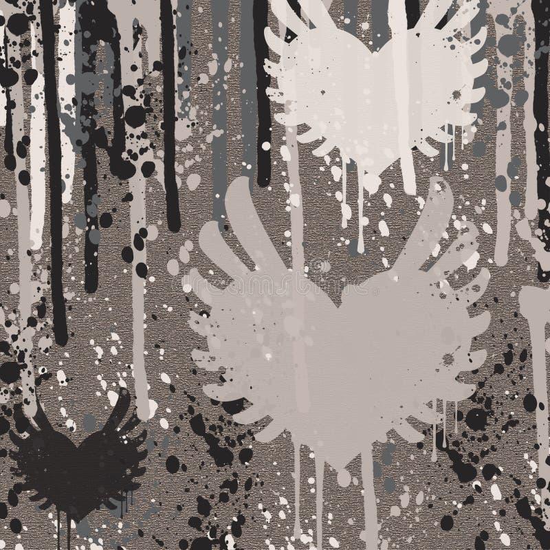 Formes grunges de coeur sur le fond gris illustration de vecteur