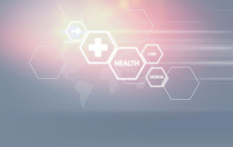Formes hexagonales de fond abstrait médical avec des symboles de santé illustration libre de droits