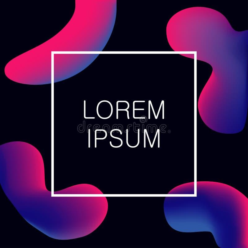 Formes liquides abstraites de couleurs Fond moderne pour la bannière avec les bulles liquides colorées Vecteur à la mode de conce illustration stock