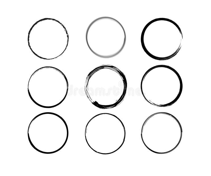Formes noires de vecteur de cercle de vin illustration stock