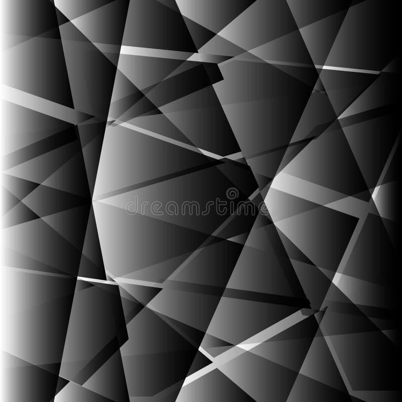 Formes noires polygonales fond, basse poly mosaïque de triangles illustration de vecteur