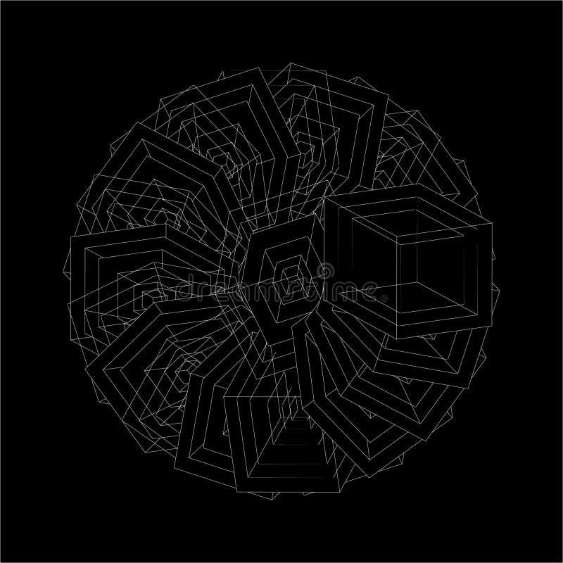 Formes optiques de répétition géométriques blanches de vecteur abstrait sur le fond noir illustration de vecteur