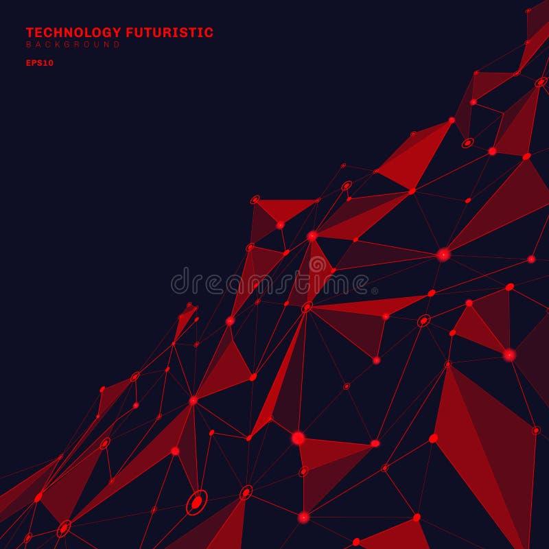 Formes polygonales rouges de résumé sur le fond bleu-foncé de perspective se composant des lignes et des points sous forme de pla illustration stock