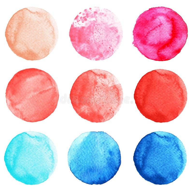 Formes rondes d'aquarelle abstraite, milieux de couleurs bleues, rouges, roses illustration de vecteur