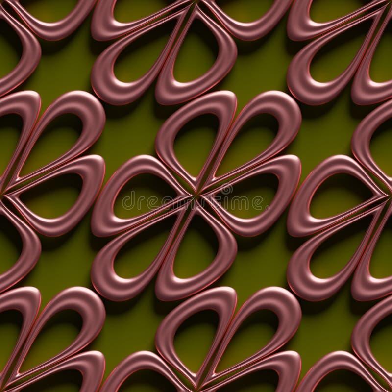 formes roses brillantes de fleur du résumé 3Demian sur le modèle vert de contexte sans couture illustration stock