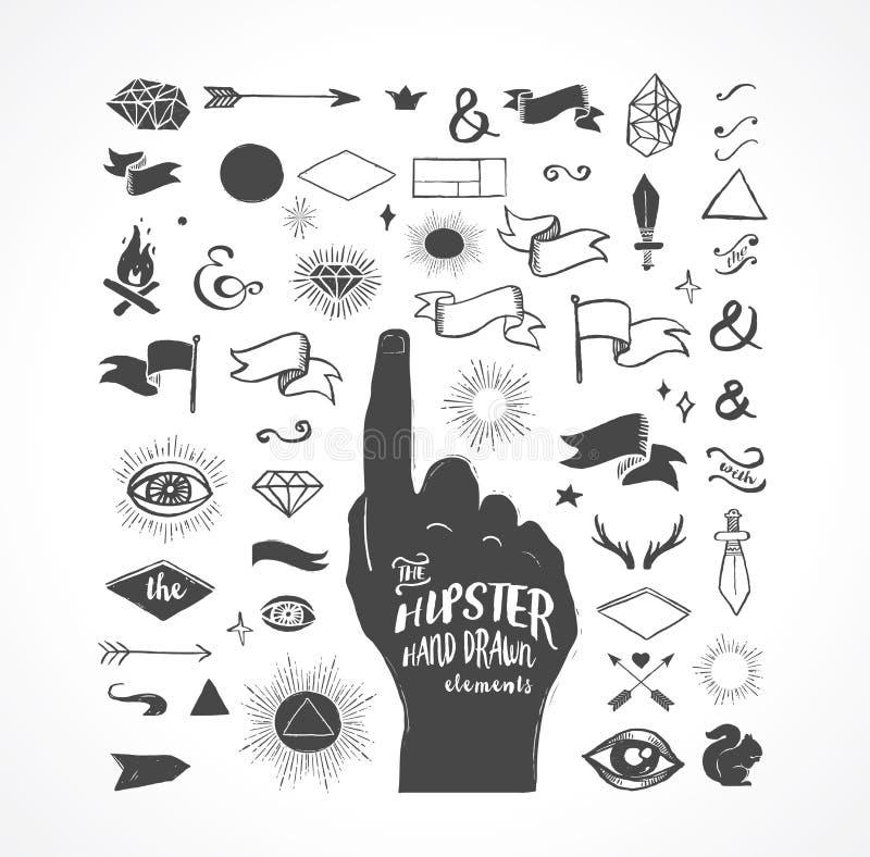 Formes tirées par la main de hippie, icônes, éléments illustration libre de droits