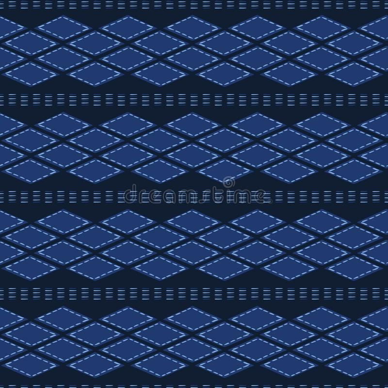Formes tribales organiques d'abrégé sur bleu d'indigo Fond sans couture de mod?le de vecteur Style texturis? tir? par la main Ray illustration libre de droits