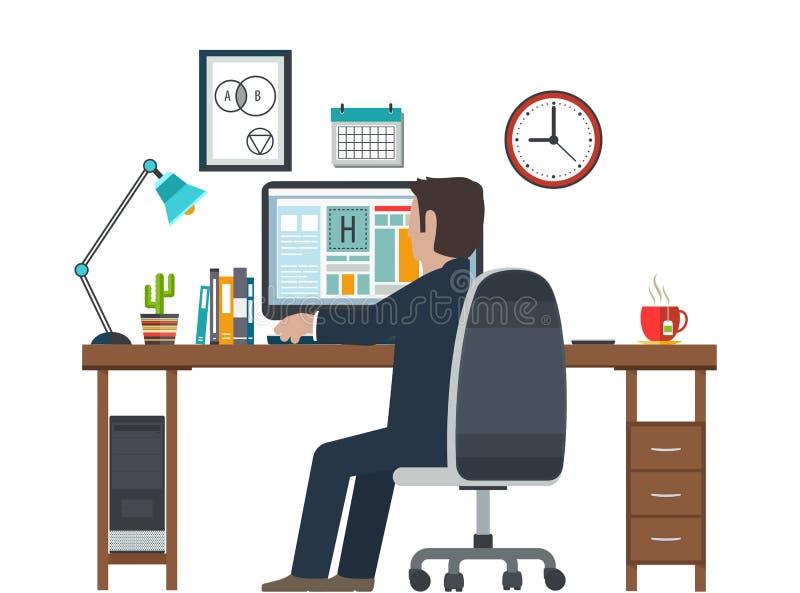 Formgivare i arbetsplatsen, arbetsstation Idérik inre för utrustning i regeringsställning stock illustrationer