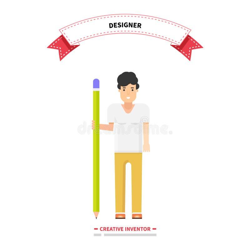 Formgivare Person Man Idérik uppfinnare stock illustrationer