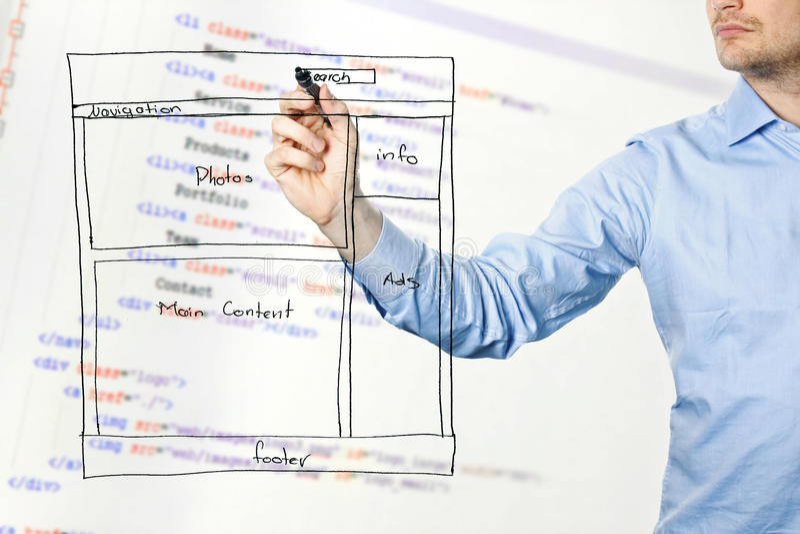 Formgivaren framlägger websiteutvecklingswireframe arkivbild