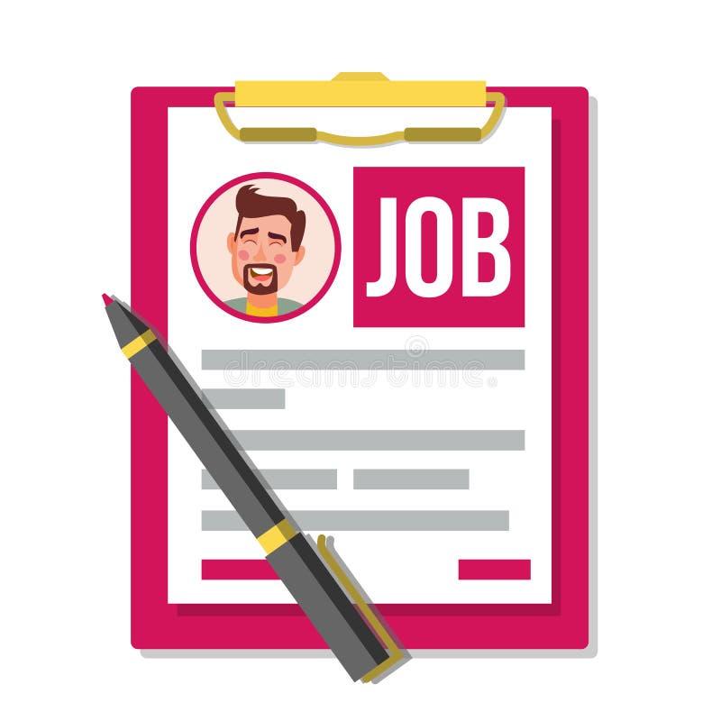 Formi Job Application Vector Documento di affari Riassunto, carriera Concetto delle risorse umane di ora Foto maschio di profilo  royalty illustrazione gratis