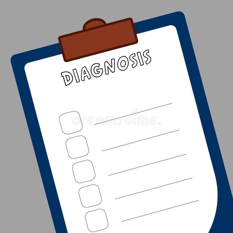 Formi per la diagnosi di registrazione in ospedali per medici, compressa con Libro Bianco per fare le note royalty illustrazione gratis