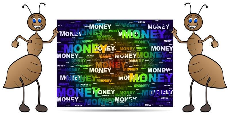 Formica con la bandiera dei soldi illustrazione di stock