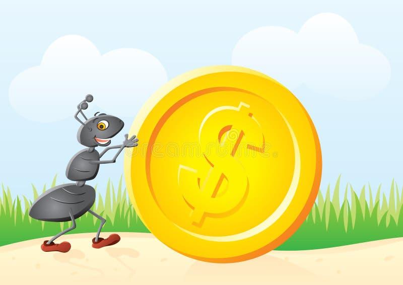 Formica e moneta illustrazione vettoriale