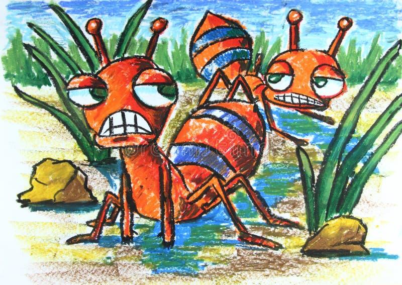 Formiche arrabbiate con la pianta illustrazione di stock