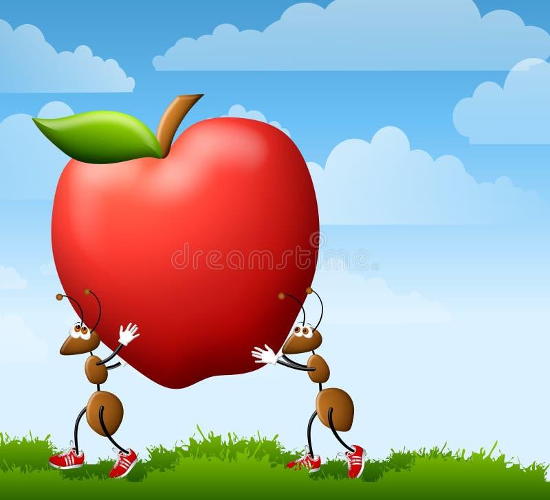 Formiche del fumetto che trasportano Apple illustrazione vettoriale