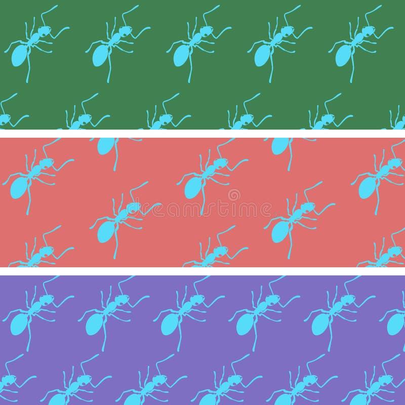 Formiche del fumetto su un colore indietro fotografia stock