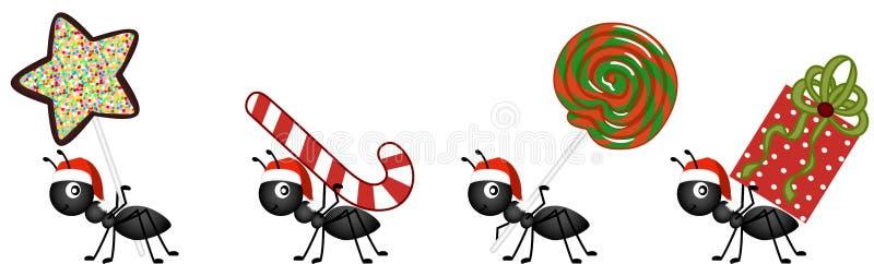 Formiche sul marzo per consegnare i regali della caramella di Natale illustrazione di stock