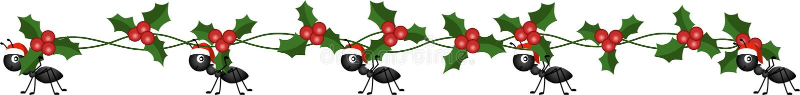 Formiche sul marzo per consegnare il ramo dell'agrifoglio di Natale illustrazione vettoriale