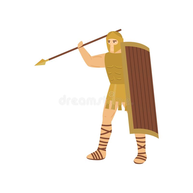 Formidabel centurion med att hota blick i stålharnesken som lyfter lancen ovanför huvudet som isoleras på vit bakgrund royaltyfri illustrationer