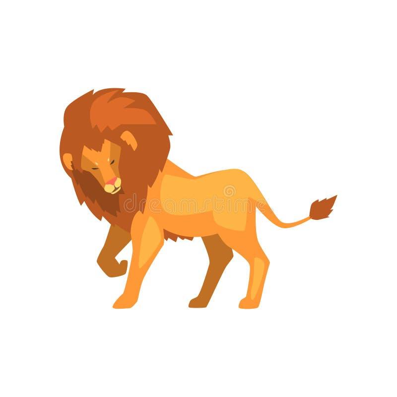 Formidabelt lejon, lös för sidosikt för rov- djur illustration för vektor på en vit bakgrund vektor illustrationer
