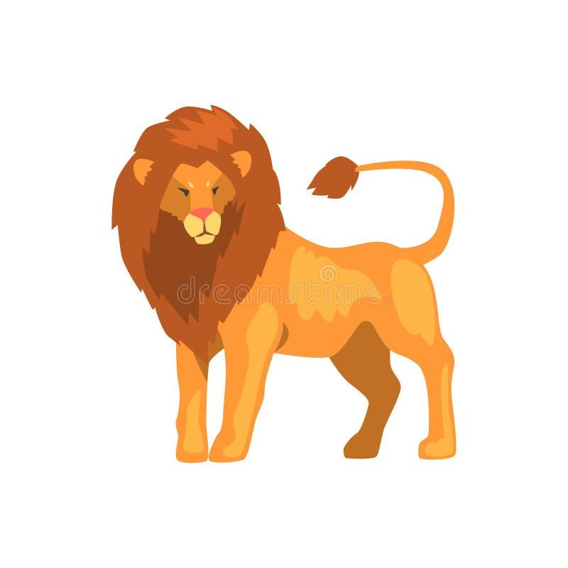 Formidabelt lejon, lös vektorillustration för rov- djur på en vit bakgrund stock illustrationer