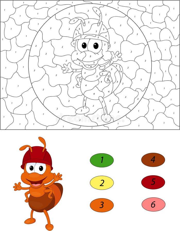 Formiga dos desenhos animados Cor pelo jogo educacional do número para crianças ilustração stock