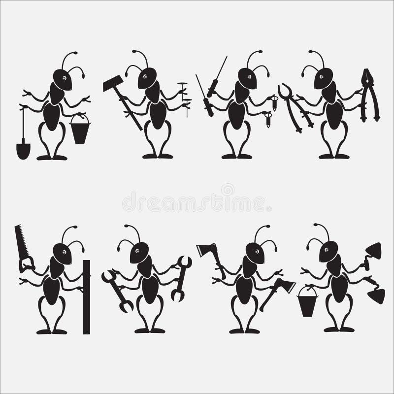 Formiga que trabalha com símbolo das ferramentas ilustração do vetor