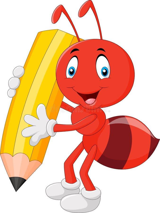 Formiga vermelha dos desenhos animados que guarda o lápis ilustração royalty free