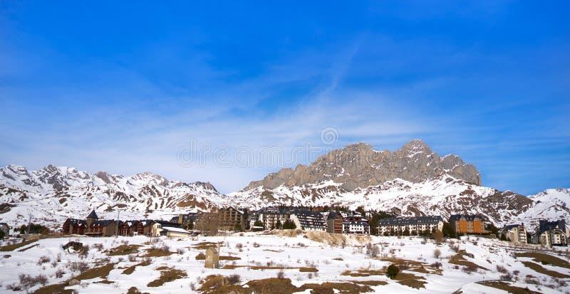 Formigal滑雪区域在韦斯卡省比利牛斯西班牙 免版税库存图片