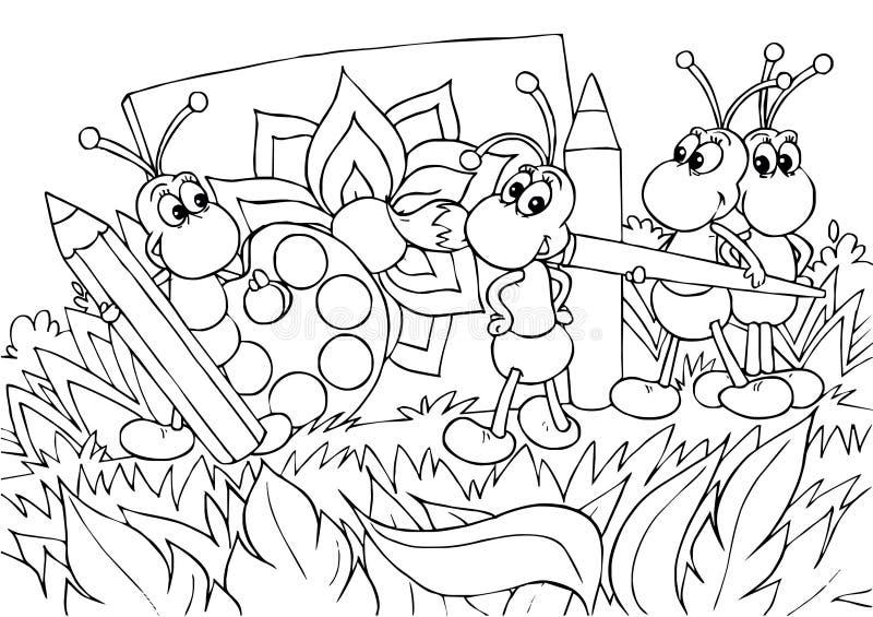 Formigas - artistas ilustração stock