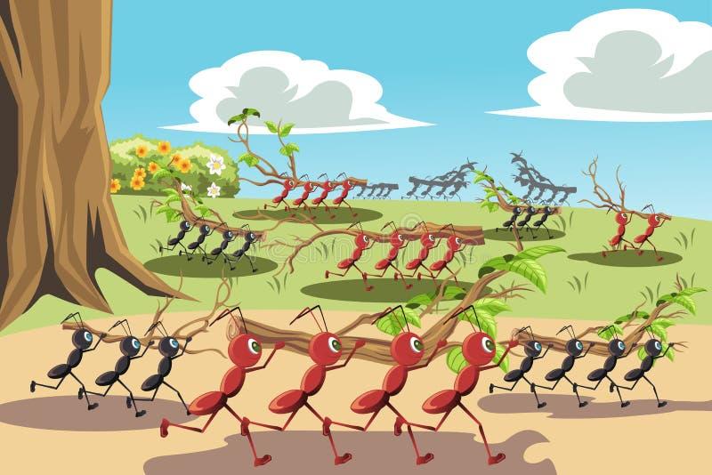 Formigas de trabalho ilustração royalty free