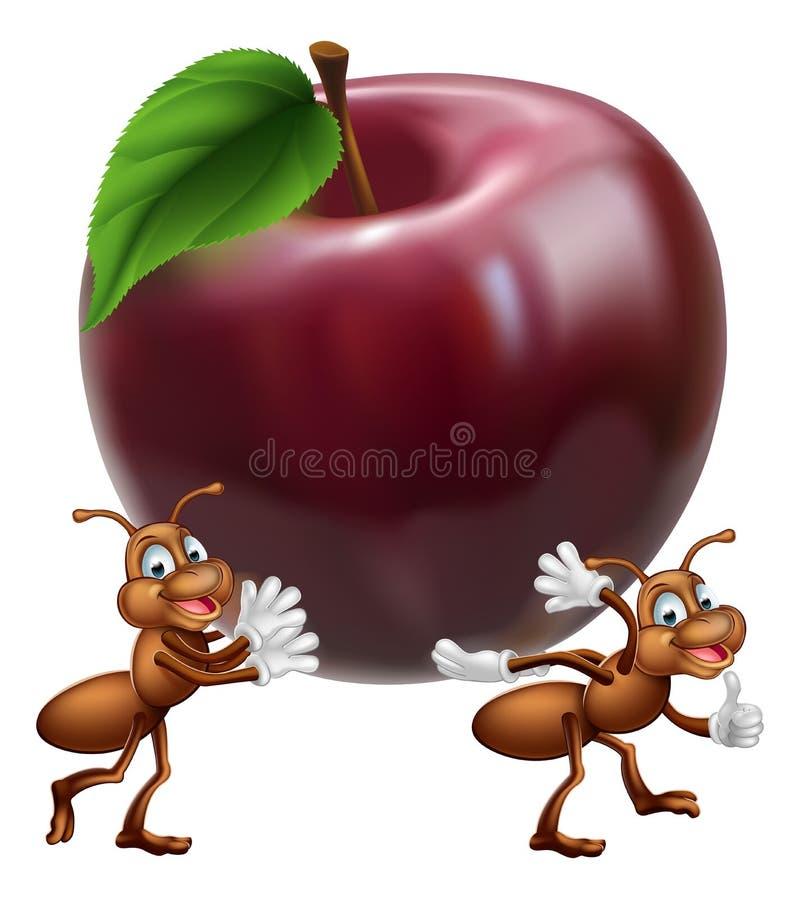 Formigas dos desenhos animados que carreg Apple ilustração do vetor