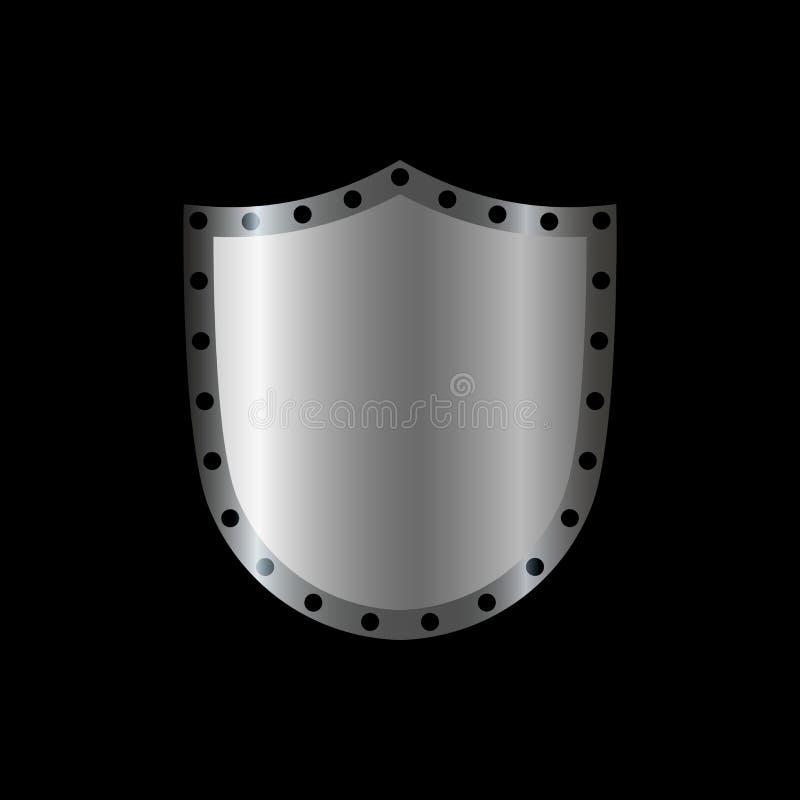 Formikone des silbernen Schildes graues Zeichen des Emblems 3D lokalisiert auf schwarzem Hintergrund Symbol der Sicherheit, Energ lizenzfreie abbildung