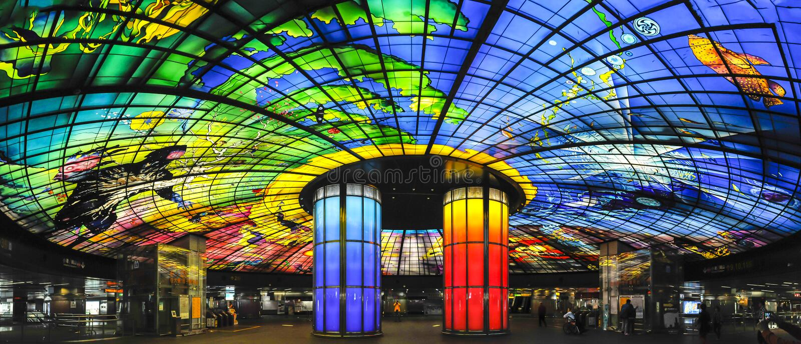 Formosa Boulevard Station. The Dome of Light at Formosa Boulevard Station, the central station of Kaohsiung subway system in Kaohsiung City, Taiwan stock image