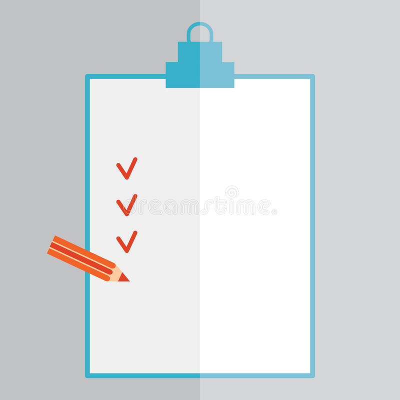 Forms with pencil and Checklist . Flat style. stock illustration